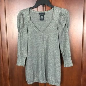 Attention Silver Metallic Blouse M